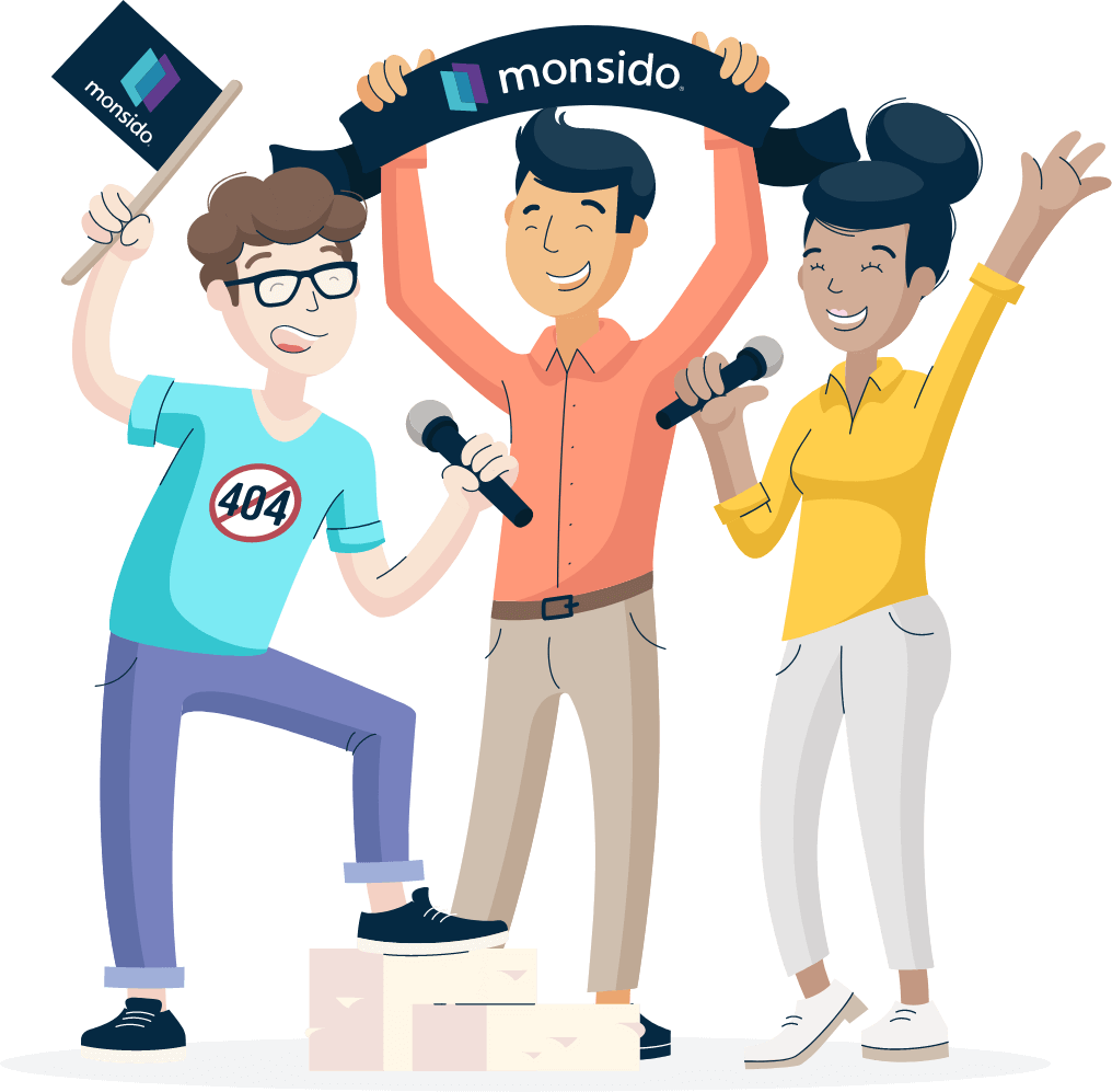 Illustration of Monsido staff looking happy