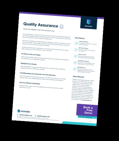 Quality Assurance Data Sheet