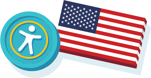 The accessibility icon and an American flag.