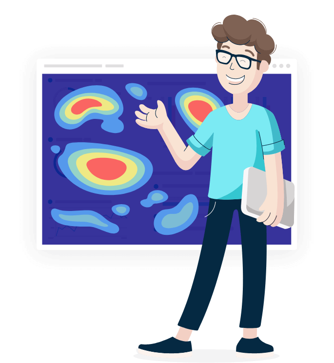 Illustration of Monsido staff member standing in front of a Heatmap