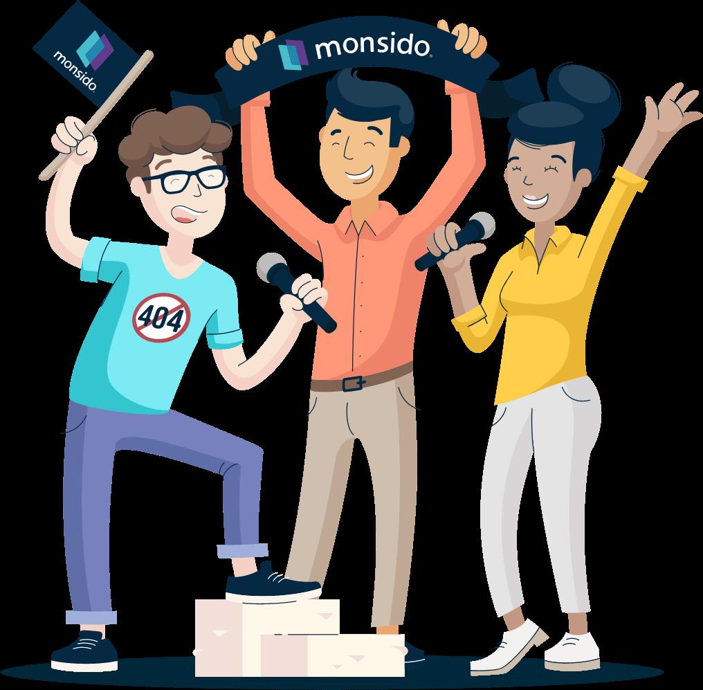 Illustration of Monsido staff looking happy