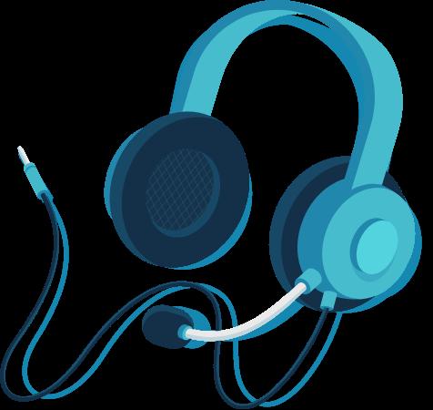 Illustration of a telephone headset