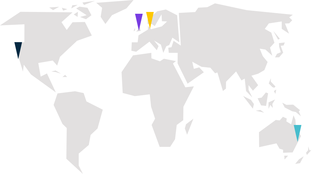 Monsido's offices located on a world map