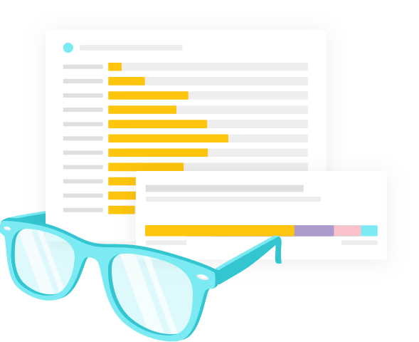 Illustration of reading glasses next to Graphs and tables displaying analytics results inside the Monsido Platform