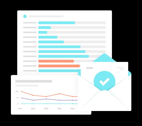 Illustration showing reports inside the Monsido Platform