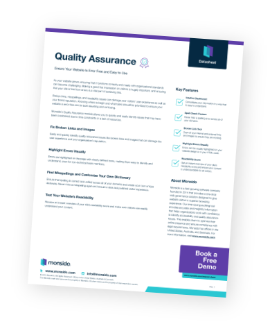 Quality Assurance Data Sheet