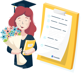 An illustration of a smiling graduate holding a bunch of flowers and a textbook standing next to a checklist