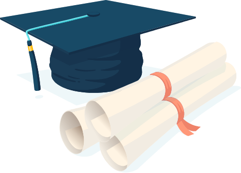 An illustration of a graduate cap next to a diploma