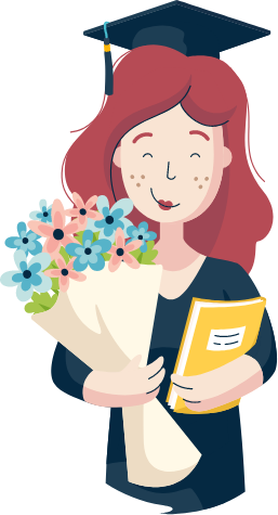 An illustration of a smiling graduate holding a bunch of flowers and a textbook