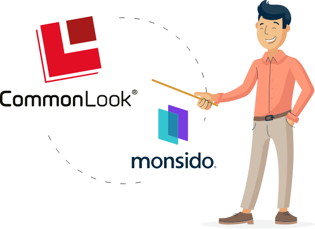 Illustration of Monsido character pointing at CommonLook logo