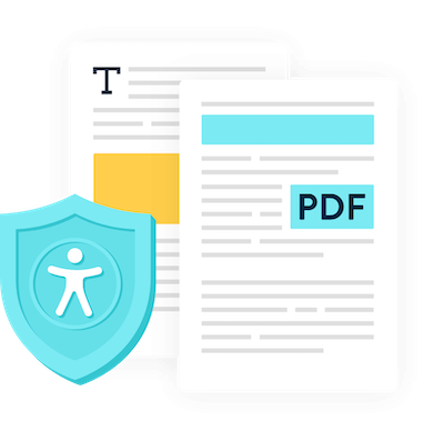 Two pdf documents with an accessibility icon over them