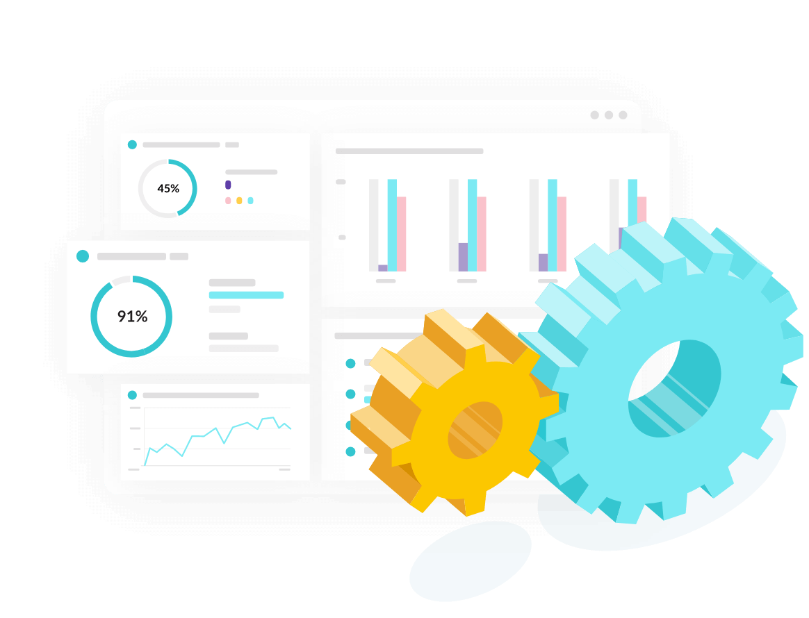An illustration of machine cogs next to graphs displaying analytics results inside the Monsido platform