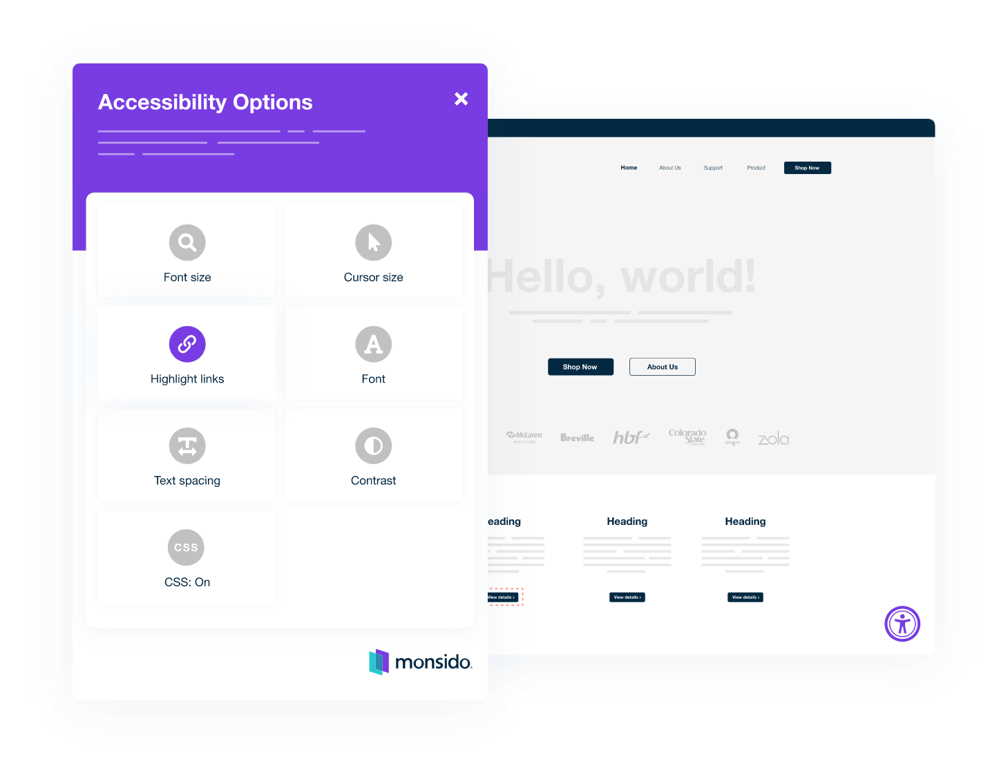 Accessibility options displayed inside the Monsido Platform.