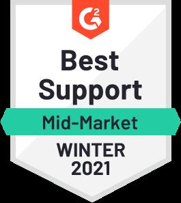 G2 Best Support Mid-Market Winter 2021