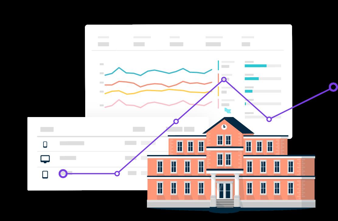 An illustration of graphs displaying analytics results inside the Monsido platform