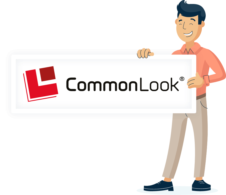 Illustration of Monsido staff holding a CommonLook poster