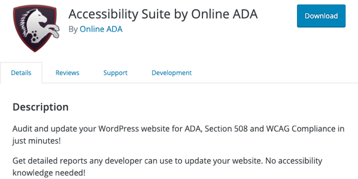 A screenshot of the header of the Accessibility Suite plugin page,
