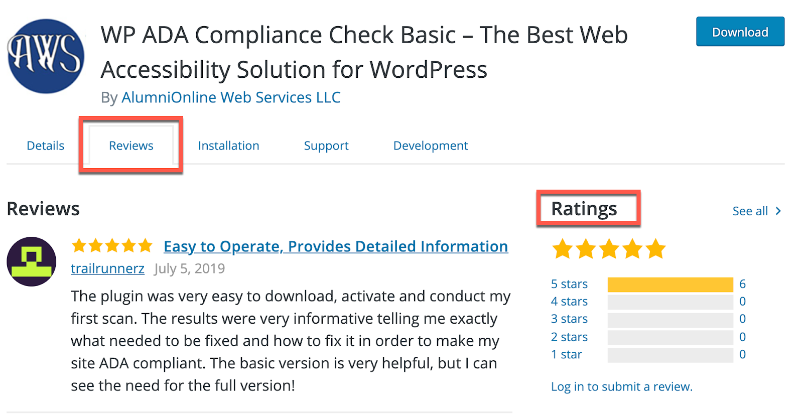A wordpress ADA plugin page with the review tab highlighted.