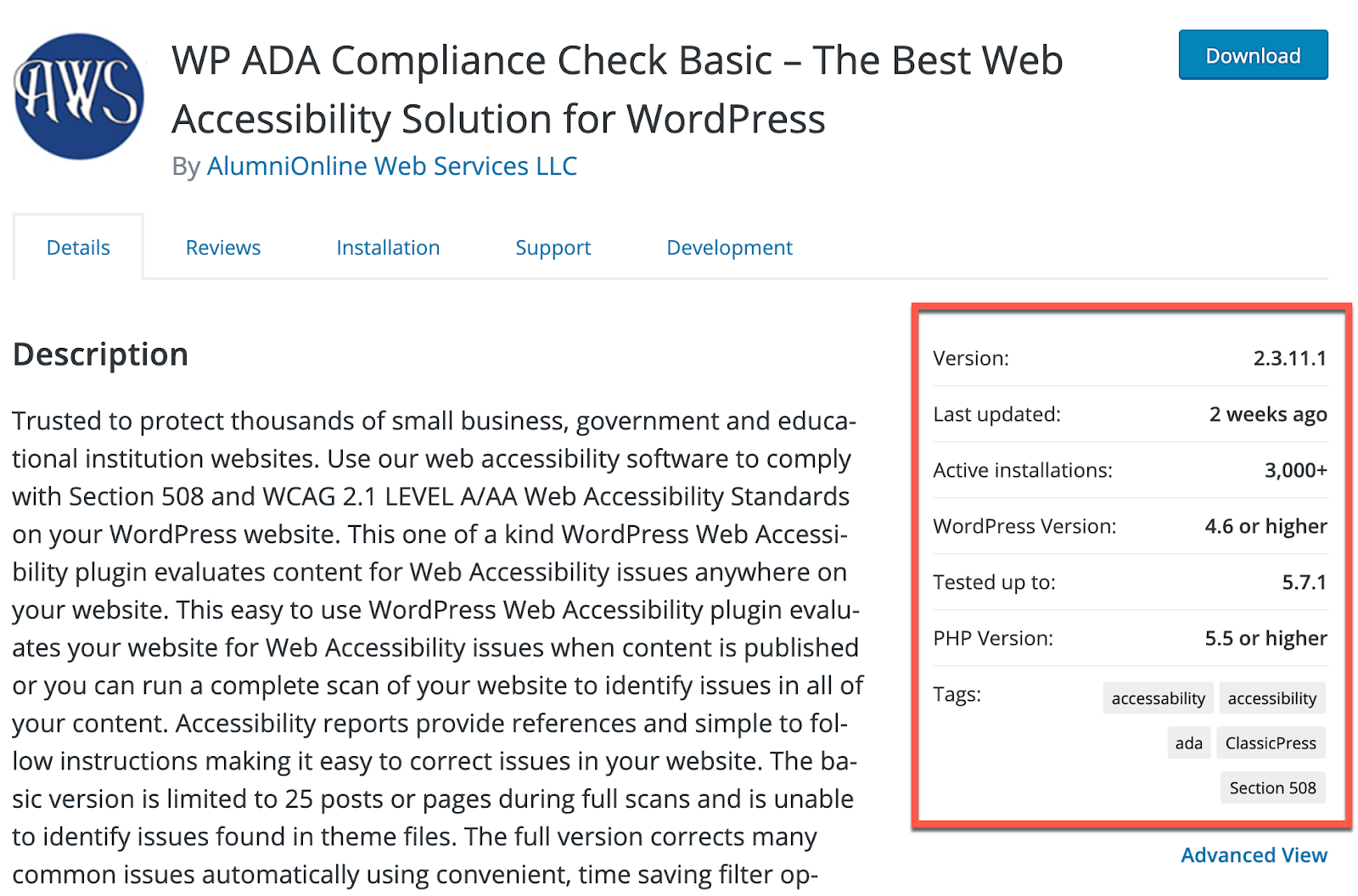 A wordpress ADA plugin page with the specification section highlighted.