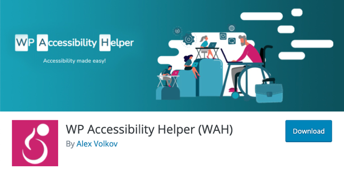 A screenshot of the header of the WP Accessibility Helper plugin page,