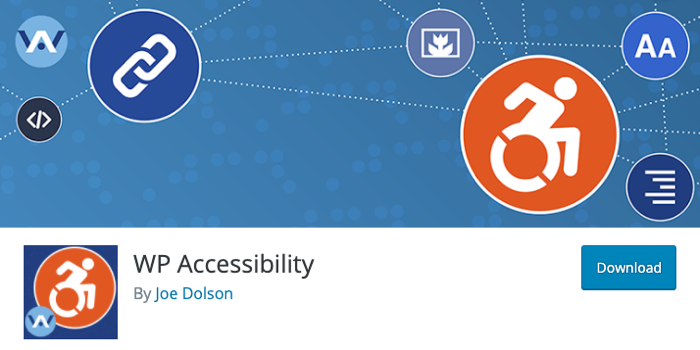 A screenshot of the header of the WP Accessibility plugin page,