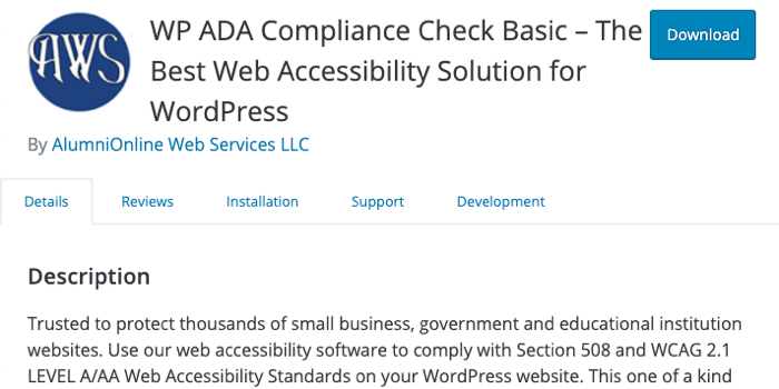 A screenshot of the header of the WP ADA Compliance Check plugin page,