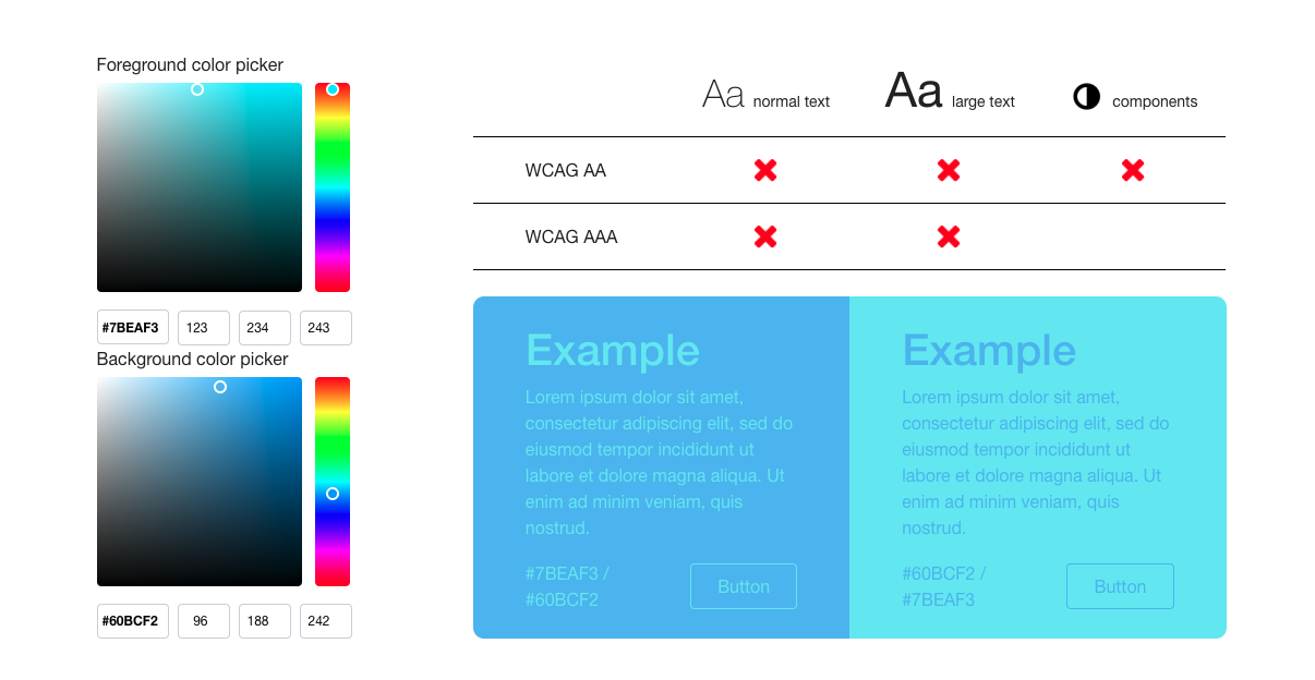 A screenshot of Monsido's Color Contrast Checker tool on poor contrast setting of blue against pale turquoise.