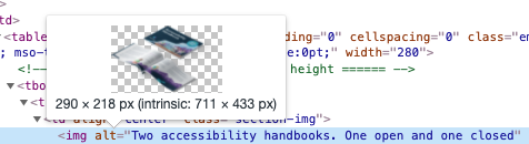 HTML code showing the location of alt text.