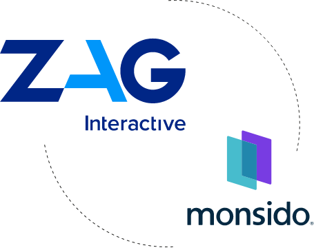 Logos of ZAG Interative that works with Monsido