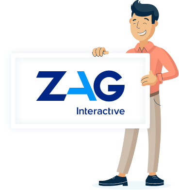 Illustration of Monsido staff holding a ZAG Interactive poster