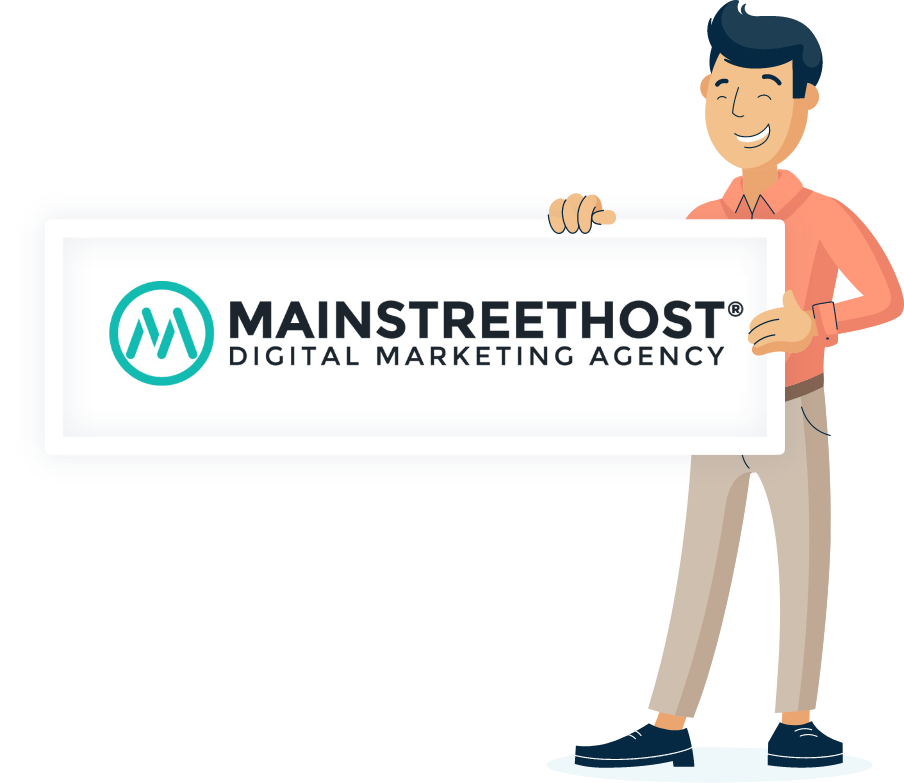 Illustration of Monsido staff holding a Mainstreethost poster