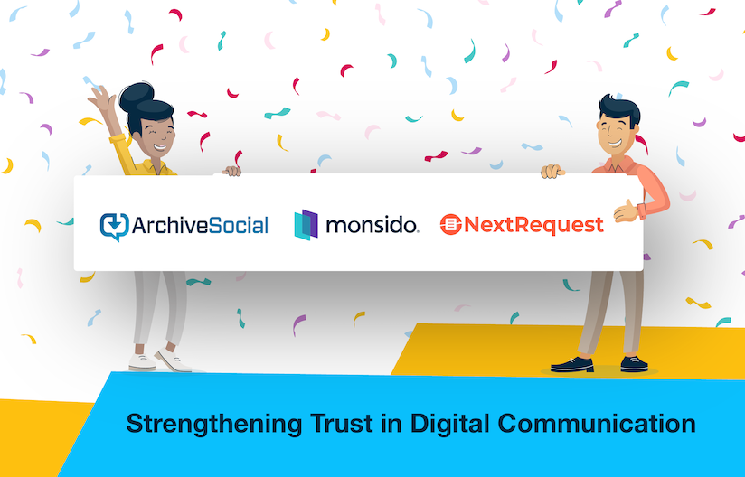 """An illustration of two individuals holding a banner with the ArchiveSocial, Monsido and NextRequest logos. There is celebratory confetti around them. Below is a blue banner with the text """"Strengthening Trust in Digital Communication"""