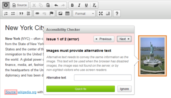Screenshot displaying the CKEditor where accessibility issues have been detected