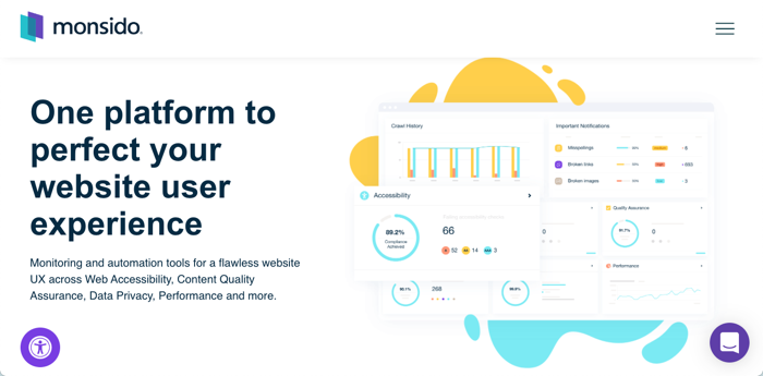 Text saying One platform to perfect your website user experience and graphs and tables displaying analytics results inside the Monsido Platform.