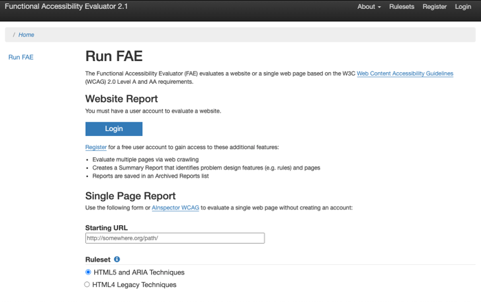 Screenshot displaying the FAE login page