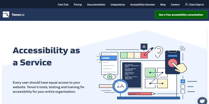 Screenshots from the Tenon website, with the headline Accessibility as a Service and an illustration of a laptop with callouts