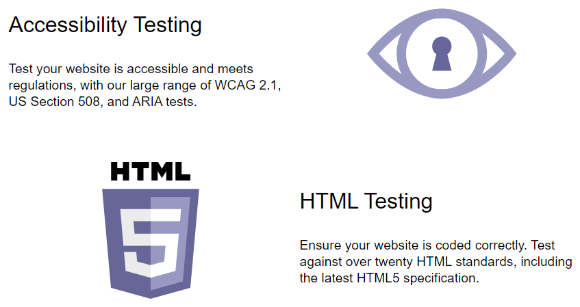 An image with the headlines Accessibility Testing and HTML Testing and icons displaying an eye and a HTML 5 logo