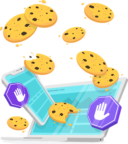 An illustration of a laptop and tablet with flying cookies and stop signs arranged around the screens