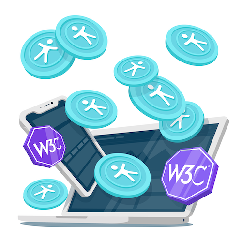 Illustration of a laptop with a tablet, accessibility logos and W3C logos flying out of it.